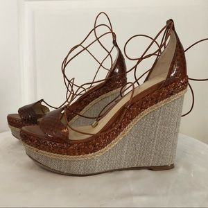 Alexandre Birman Python Lace Up Ankle Wedge 36.5